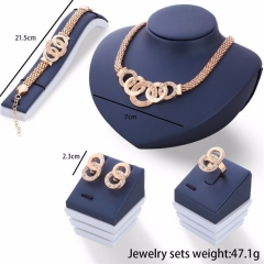 HN-5 piece/Set New alloy Necklace Pendant Earring Studs Bracelet Wedding Rings Women Men Jewellery gold as picture