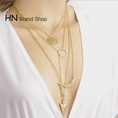 HN Brand-1Pcs/Set New Beautiful wings arrow scales hanging tablets multi layer exaggeration Necklace gold chain length:66cm