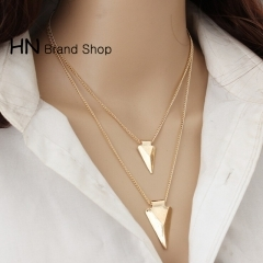HN Brand-1Pcs/Set New Beautiful Multi layer triangle Metal Necklace Pendant For Women Jewellery gold chain length:52cm