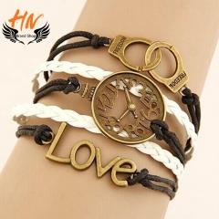 HN Brand 1 Piece/Set New Fashion LOVE Clock handcuffs alloy Bracelets Bangles Women Men Jewellery white+Black as picture