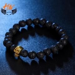 HN Brand 1 Piece/Set New Metal Skull of natural stone Bracelets Bangles Women Jewellery black 1 as picture