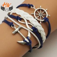 HN Brand 1 Piece New DIY Anchor ship rudder multilayer skin Bracelets Bangles Women Men Jewellery silver as picture