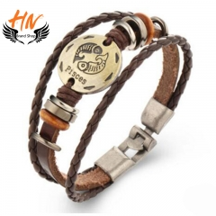 HN Brand 1 Piece New Fashion 12 constellation Woven leather Bracelets Bangles Men Women Jewellery Pisces as picture