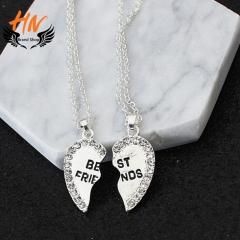 HN Brand 1 pair/Set New Beautiful Fashion best friends Heart Pendant pendant alloy Diamond necklace silver perimeter:46cm