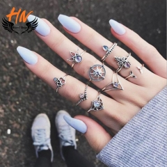 HN Brand 9 piece/Set New Fashion Individual love Alloy Crystal Wedding Ring Women Men Jewellery Gift gold as picture