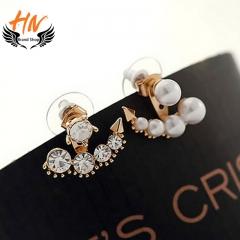 HN Brand 1 pair/Set New Diamond pearl earrings For Women Jewellery Gift gold 2.1cm*1.9cm