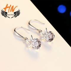 HN Brand 1 Pair/Set New Fashion Temperament Star Earrings For Women Jewellery Gift white gold one size