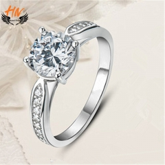 HN Brand 1 Pair/Set New Fashion Couples Zircon Ring For Women Jewellery Gift white gold as picture