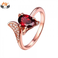 HN Brand 1 Pair/Set New Fashion Firefox Charm Ring For Women Jewellery Gift rose gold one size