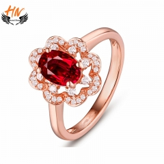HN Brand 1 Pair/Set New Fashion High Ruby Ring  For Women Jewellery Gift rose gold 6