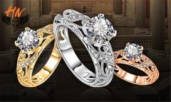 HN Brand 1 Pair/Set New Fashion  Elegant Flower Ring For Women Jewellery Gift gold 6