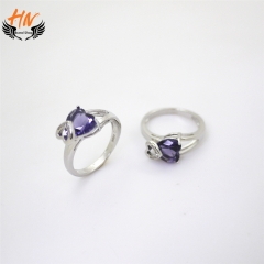 HN Brand 1 Pair/Set New Fashion  Popular Heart  Zircon Ring For Women Jewellery Gift white gold 6