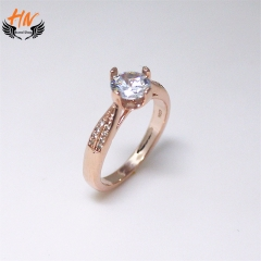 HN Brand 1 Pair/Set New Fashion Zircon Four Claws Ring For Women Jewellery Gift rose gold 6