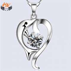 HN Brand 1 Pair/Set New Fashion Temperament Dolphins Necklace For Women Jewellery Gift white one size