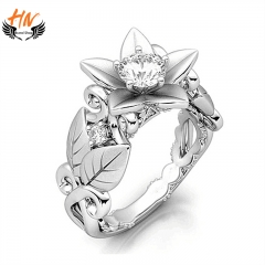 HN Brand 1 Pair/Set New Fashion Flower  Zircon  Ring  For Women Jewellery Gift white gold as picture