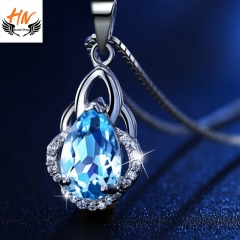 HN Brand 1 Piece/Set New Fashion Popular Crystal Chain Necklace For Women Jewellery Gift blue one size