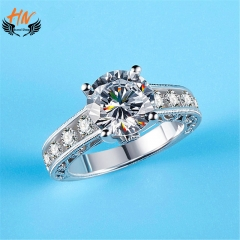 HN Brand 1 Piece/Set New Fashion  Zircon Ring For Women Jewellery Gift white gold 6