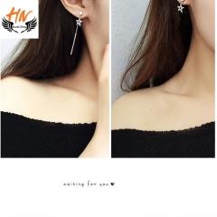 HN Brand 1 Pair/Set New Fashion  Pentagram Zircon Earrings For Women Jewellery Gift white gold one size