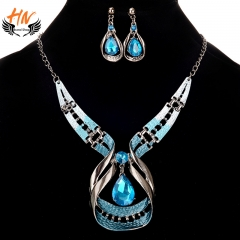 HN Brand 3 piece/Set New Fashion Water droplets gems necklace suits earring For Women Jewellery Gift blue chain length:45cm