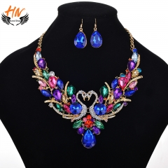 HN Brand 3 piece/Set New Fashion Swan set auger Necklace suits earrings For Women Jewellery Gift as picture one size