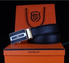 Genuine Leather Belt For Men Business Alloy Automatic Buckle Luxury Brand Belt leather belt black 110cm