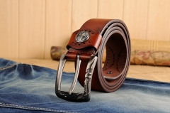 Fashion PU & Cowskinb Belts For Men Metal pin Buckle Belt brown 110cm