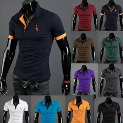 Men's Fashion Personality Cultivating Short-sleeved Shirt POLO Black M