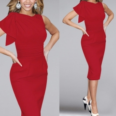 New Women's Fashion Lotus Leaf Pleated Slim Pencil Evening Tight Dress Red 3XL