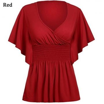 Fashion Women V-neck Sexy T-shirt Bat Short Sleeved Stitching Loose red s