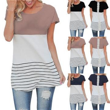 Fashion Women Short Sleeved Lace Stitching Stripe T-shirt black s