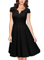 Oxiuly  Vestidos Womens Dress Formal V Neck Casual   Bodycon Knee Length A-line Dresses black s