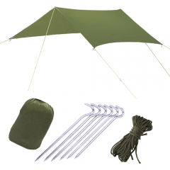 10*10 ft Portable Waterproof Rain Fly Tarp Shelter  Tent Tarp Camping Sunshade Shelter Army green one size