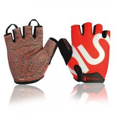Cycling Gloves for Men/ Women Anti-slip Shock-absorbing Riding Fingerless Gloves red S
