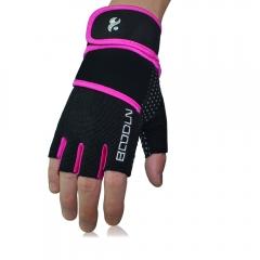 Anti-slip Weightlifting Gloves with Wrist Support Men/ Women Elastic Half Finger Fitness Gloves purple s