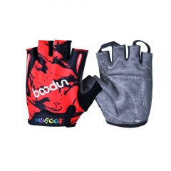 Kids Cycling Gloves Padded Soft & Breathable Boy Girl Half Finger Skateboard Gloves red m