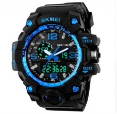 SKMEI 1155 Dial Dual Display Sport Digital Watch Men LED Electronic Analog Wristwatch Waterproof Blue normal