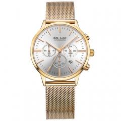 Megir Fashion Lady Watch Bracelet Quartz Analog Gold Watch Girl Watch Gold