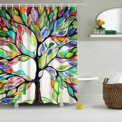 Colorful Tree of Life Print Waterproof Shower Bathroom Curtain, Size Options are Available as picture show W180cm_H180cm