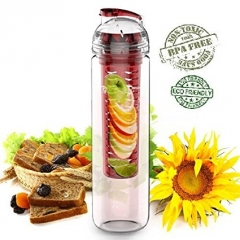 Infuser Water Bottle, Sport Flip-Top Fruit Bottle, BPA-Free Tritan 27 OZ Red Red