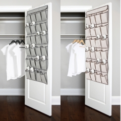 24 Pockets Over the Door Shoe Organizer Hanging Shoe Storage Bag with 4 Metal Hangers as picture show