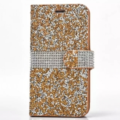 Luxury TechJumbo Sparkly Wallet Case Cover for Samsung S7 gold S7