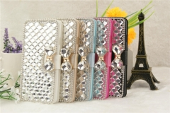 TechJumbo Luxury Cases Crystal Beaded Wallet Phone Case Covers for Samsumg S6 rose carmine S6