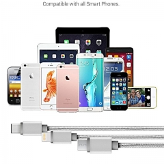 3 in 1 Charging Cable,Universal Charging Cable ( 4 feet), for iPhone, iPad and Android Smartphone blue