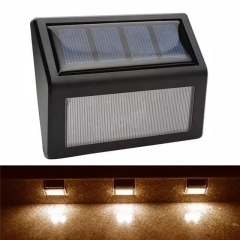 Solar Powered Solar 6 LED Light for patio, deck, fence, or other outdoor area, 2-Pack. black 6 watts