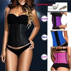 Usexy top Body Shaper Steel Bone Latex Waist Trainer Block Patchwork Slim Waist Rubber Women Corset black S-M