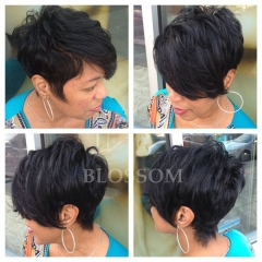 Celebrity Wig Glueless None Lace Chic Cut Short Human Hair Wigs Unprocessed Brazilian Hair Wigs #1b average
