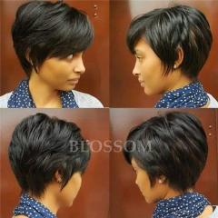 Top Quality Peruvian Human Short Pixie Cut Black Hair Wigs None Lace Wig for Black Women #1b average