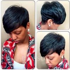 Short Human Hair Wig With Bangs For Black Women Brazilian Short Glueless None Lace Wigs #1b average