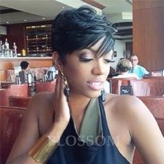 Pixie Glueless Human Hair Wigs With Bangs Human Hair Bob Wigs For Black Women Short Hair Wigs #1b average