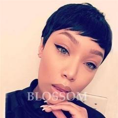 Human Hair wigs with Baby Hair For Black Women Brazilian Hair Short Brazilian Hair Wigs #1b average